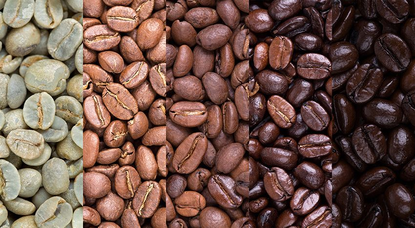 coffee beans in different colours